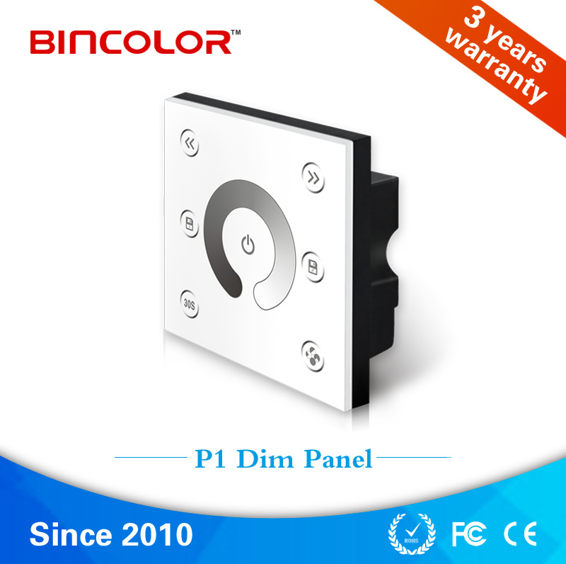 P1 Fashion design 4 channel wall mounted single color led touch dimmer