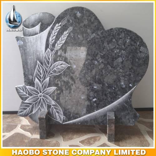 Granite Heart Shaped Cemetery Plaque