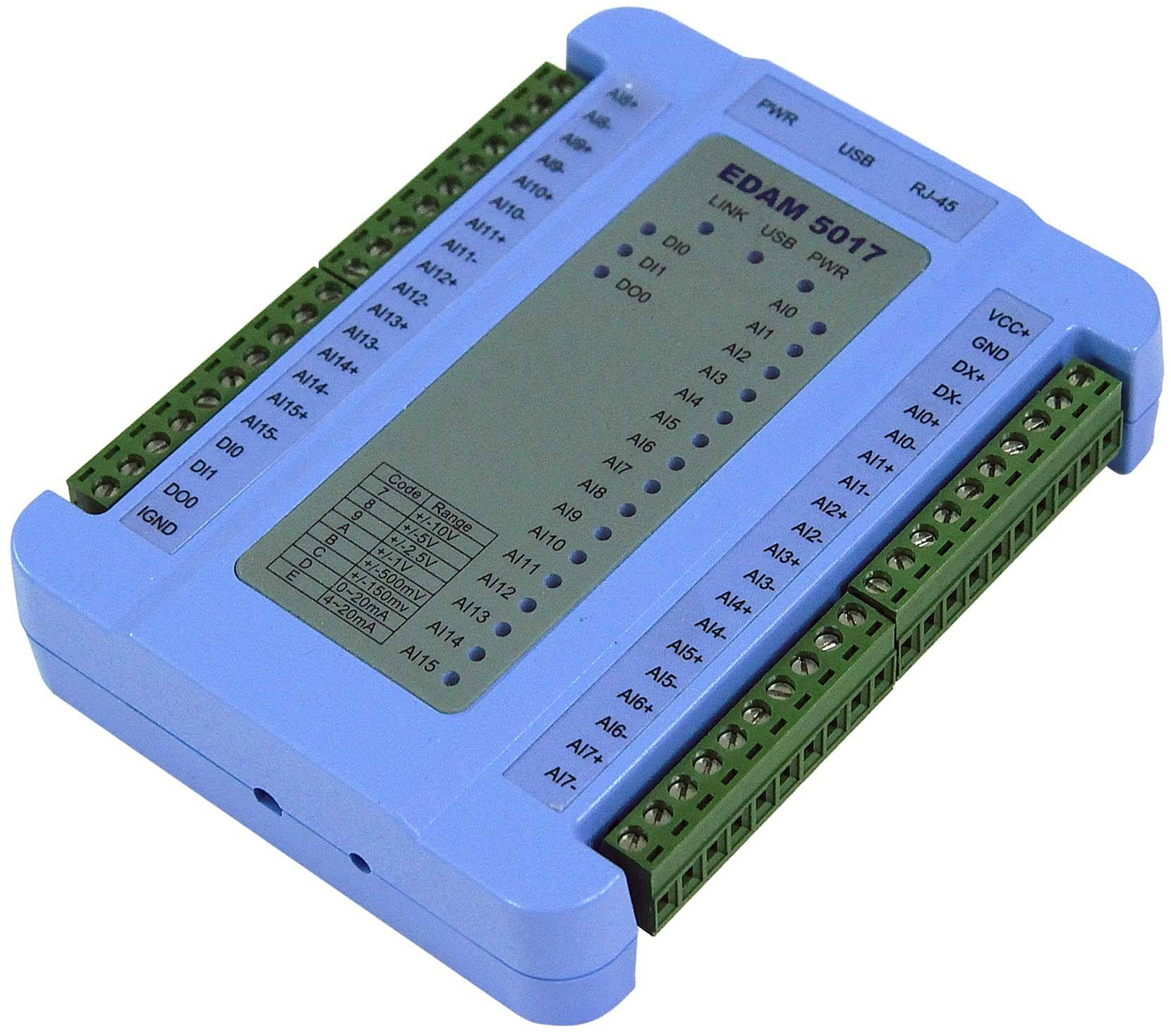 RS-485/ethernet/USB analog input remote I/O module