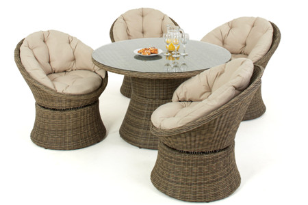 Outdoor furniture rattan dining table swivel chairs