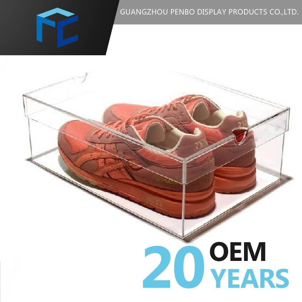 Luxury transparent airtight storage showcase custom clear acrylic shoe box