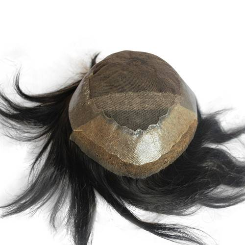 Natural black Hairpieces for men French lace PU around 100% remy human hair Mens toupee