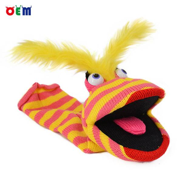 Knitted Hand Puppet for adult stripy finger hand puppet for sale