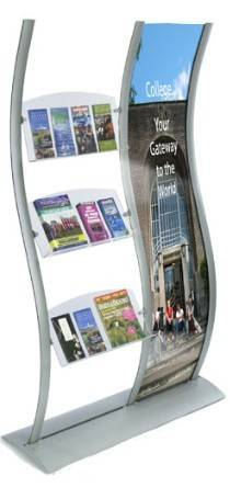 Banner stand with literatrue shleves