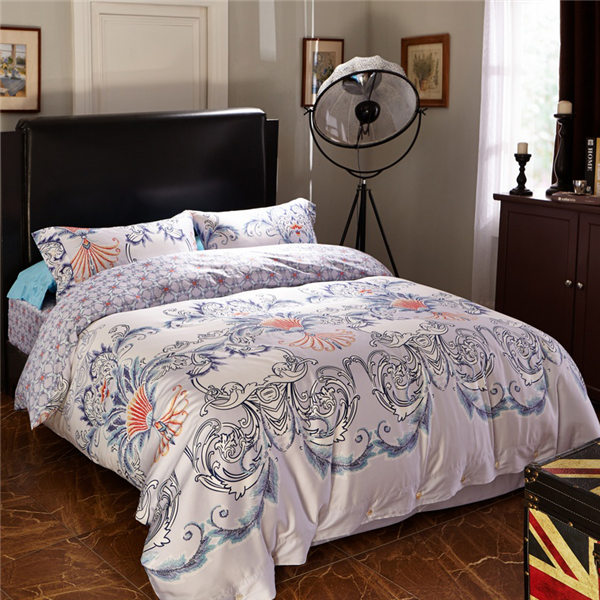 Long Staple Comb Cotton Sateen 300 Thread Count 3-Piece and 4-Piece Queen and King Duvet Cover and S