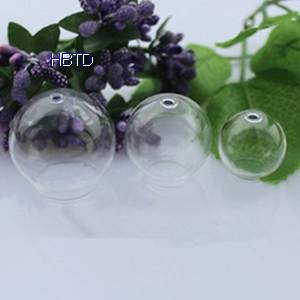 Hand Blown Globe Clear Hollow Jewelry Round Crystal Glass Ball Jewelry Covers Necklace Pendant Hemis
