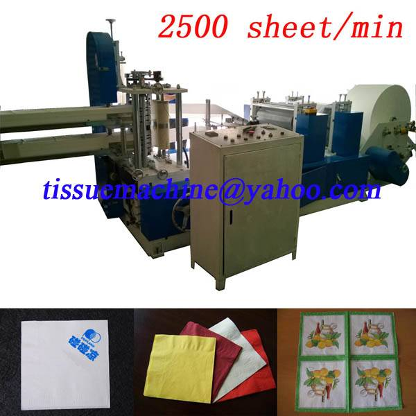 2500 pc/min Fastest China tissue paper napkin printing folding making converting machine