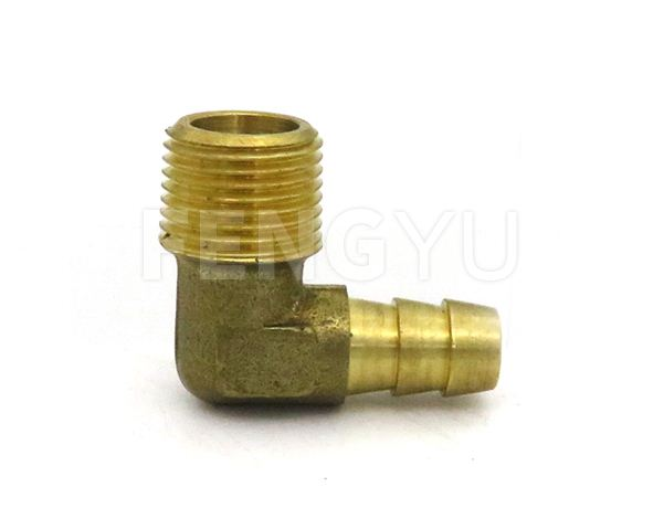 Brass male thread x hose barb elbow F270X