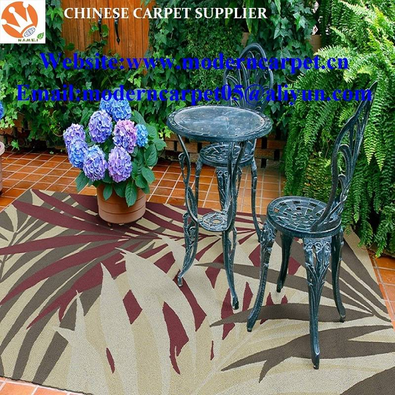 Hand hooked polyester outdoor garden rugs