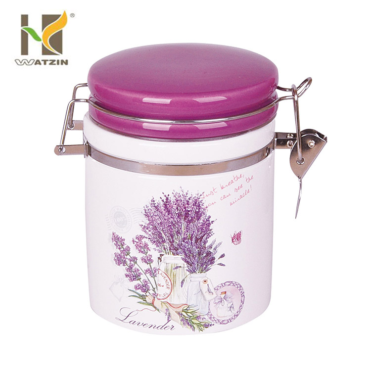 2017 new design ceramic airtight canister set with butterfly decal