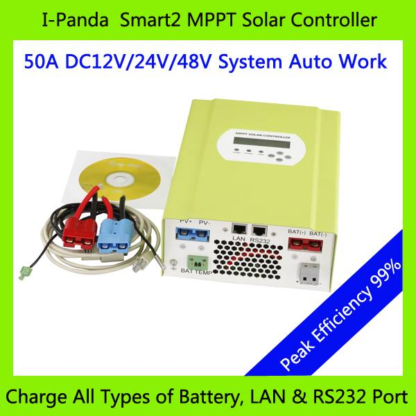 48V 50A SMART2 MPPT solar controller, 50A Solar panel battery charger, with RS232 Lan Charge Vented