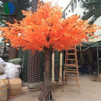 Orange red foliage artificial maple trees indoor decoration