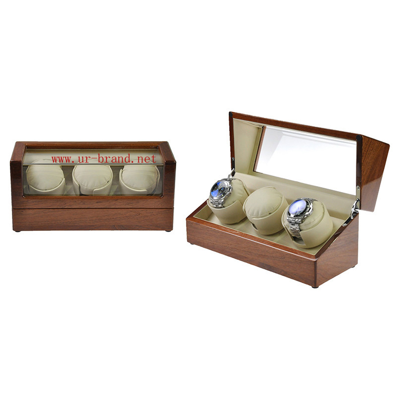 China automatic glossy wooden veneer triple watch winder automatic watch box with 3 cups