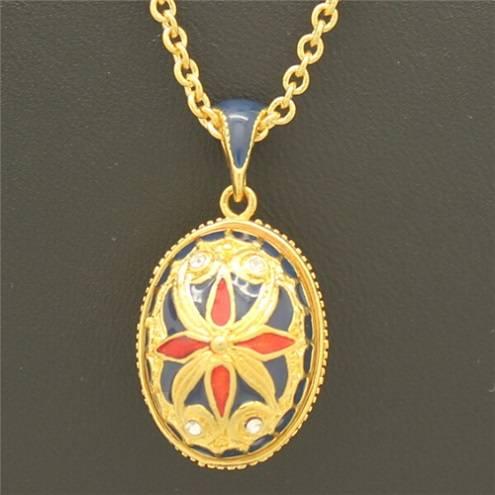 Fashion Jewelry Silver Faberge Enamel Egg Pendant Necklace