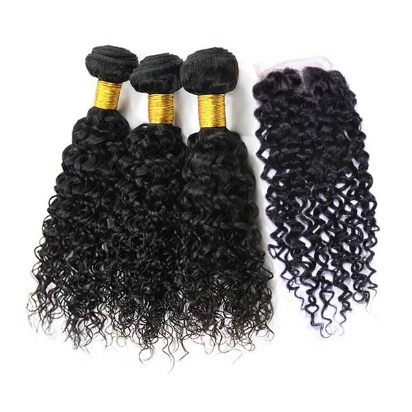 8A Brazilian Water Wave Human Virgin Hair Weave 3 Bundles With Lace Closure
