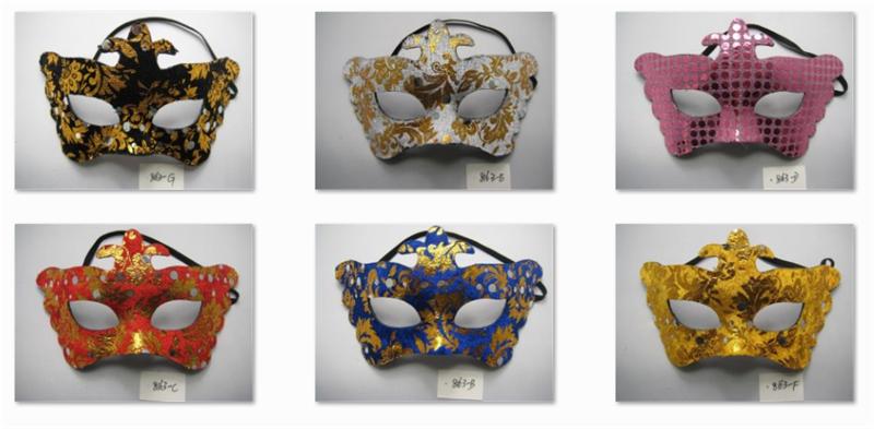 Multicolor Halloween Venetian Masquerade Party Glitter Golden Printing Masks