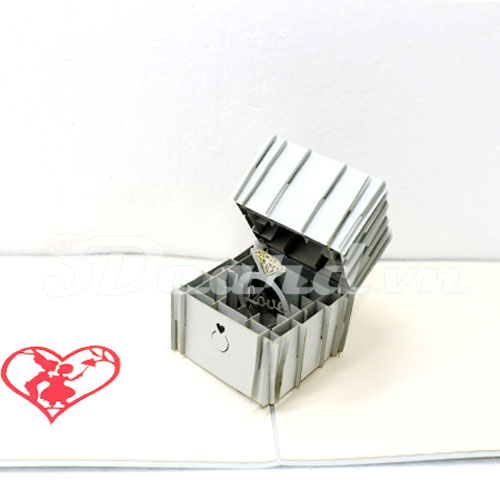Ring Box-Pop up-Kirigami-Origamic-Laser cut-Paper cutting-Handmade-3D-Love card
