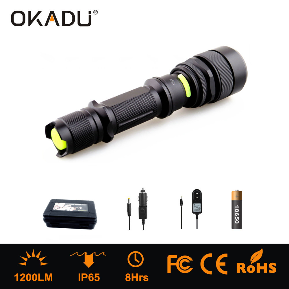OKADU ZT06 Super Bright Rechargeable 1200 Lumens LED Flashlight Cree XM-L U2 LED Zoomable Torch