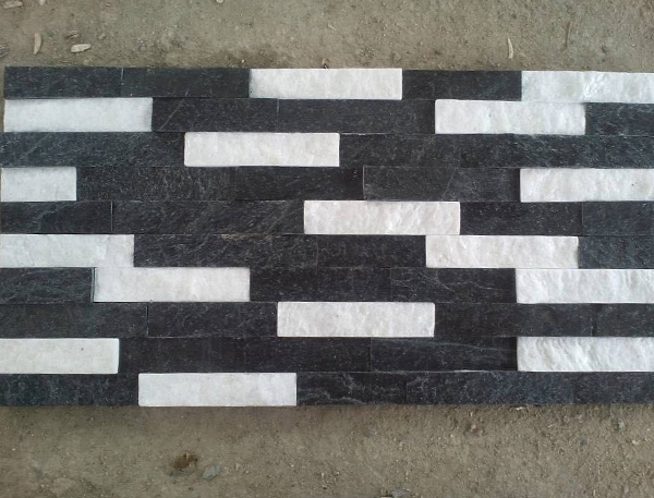 black and white cultured stone panel for wall cladding decoration