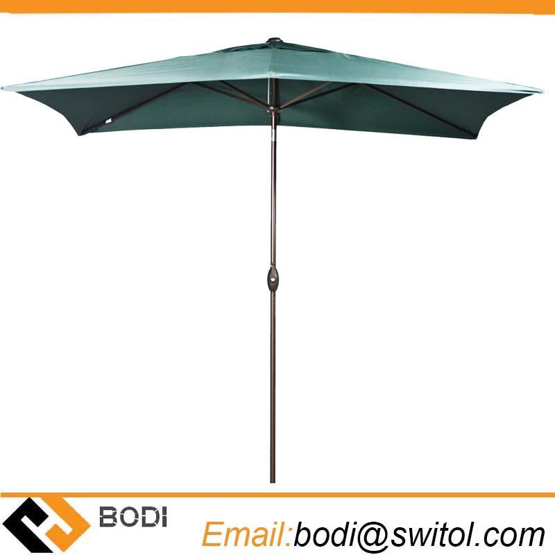 Rectangular Market Outdoor Table Patio Umbrella with Push Button Tilt and Crank Dark Green