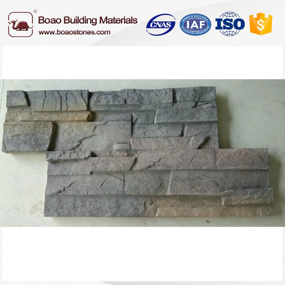 Artificial faux reef ledge stacked stone veneer wall panel siding cladding