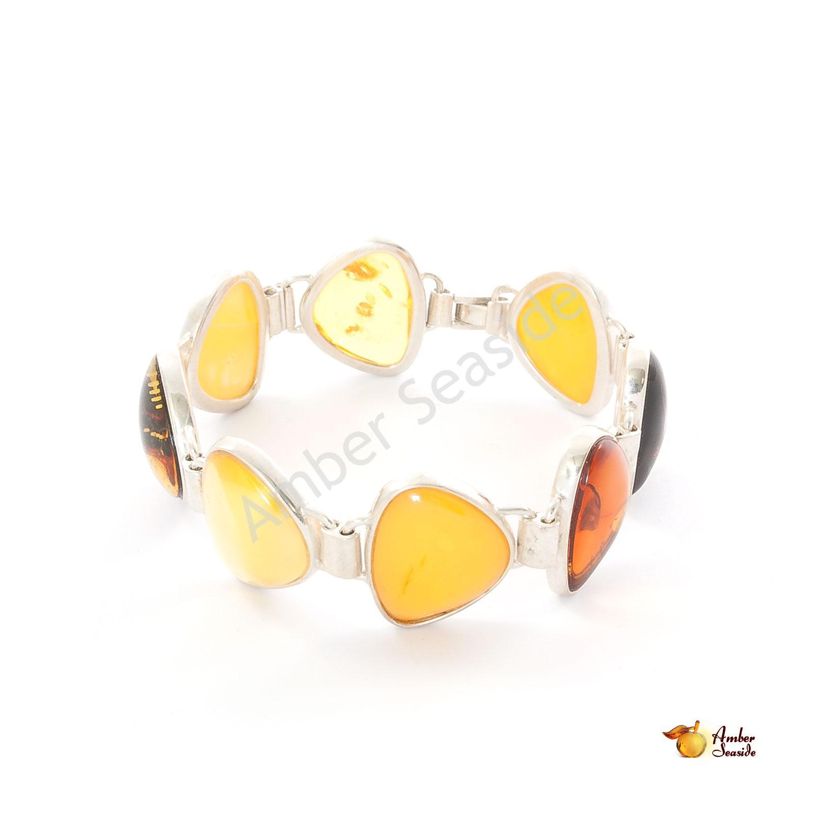"Amber Bracelet ""Chain"" .925 Sterling Silver"