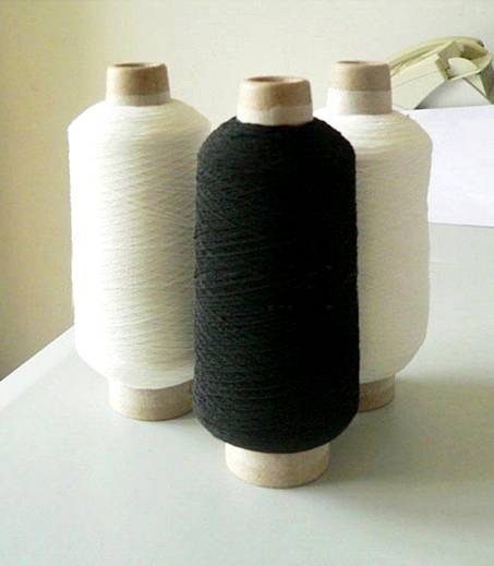 Latex covered polyester yarn