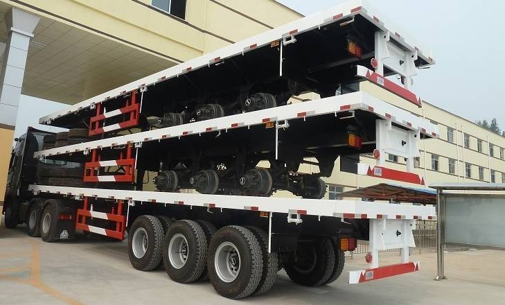 Fudeng 40feet 3 axles flatbed container platform semi trailers for sale