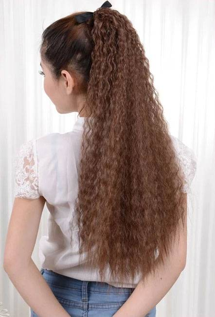 long kinky curly synthetic ponytails hair extensions