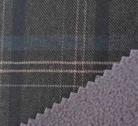 three color large grid twill fabric+TPU+fleece