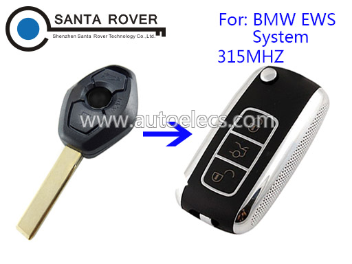 Key Control For BMW Modified EWS Flip Remote Key 315Mhz 3 Buttons HU92 Blade
