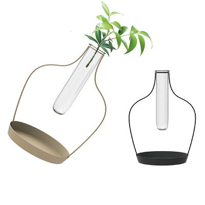 Set Of 2 Metal Stand Glass Tube Vase Flower Pot Shape Design