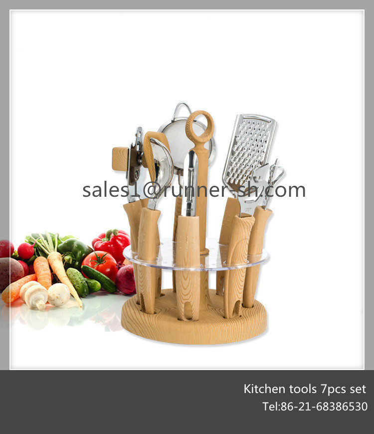 Stainless steel kitchen gadget 7pcs set with holder