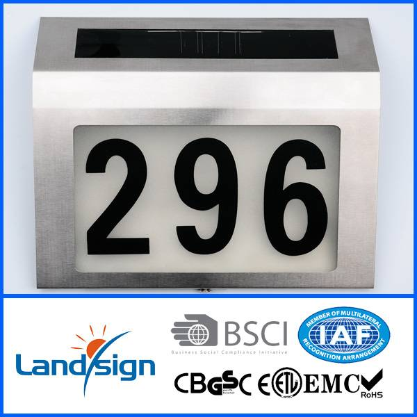 Solar lighted plate with numbers high brightness 4*white led solar powered led house number display