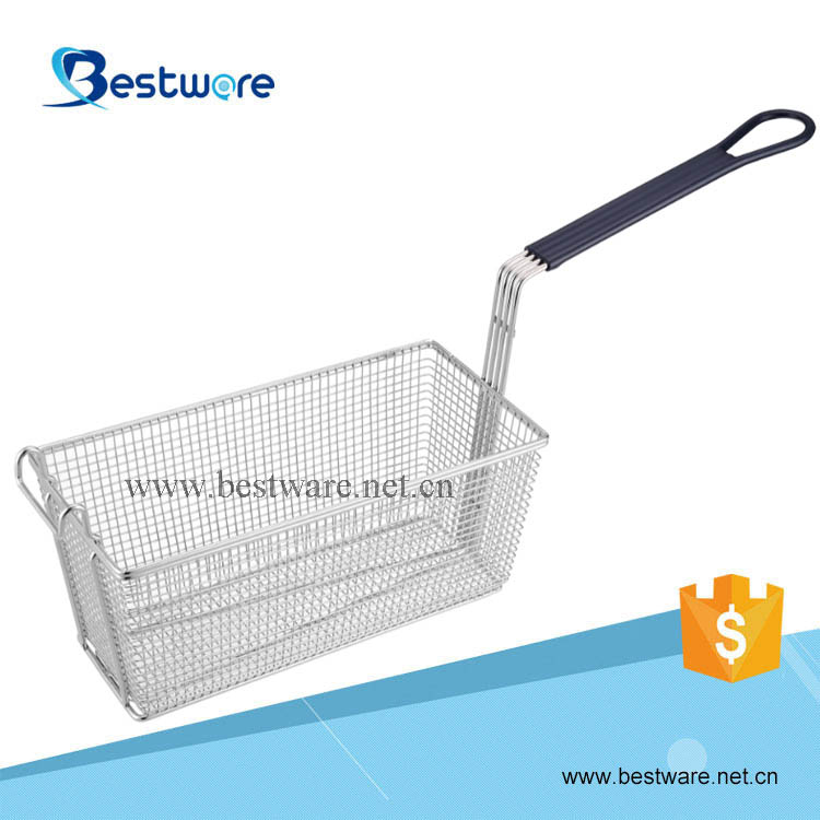 Stainless Steel Wire Mesh Fryer Basket with Vinyl Handle