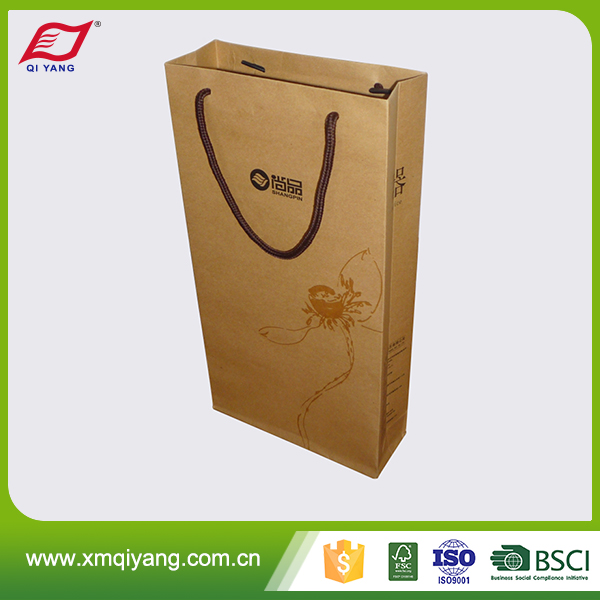 Promotional wholesale glossy lamination luxury brown wine paper bag