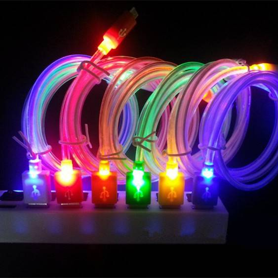 Color Changing LED Shining Visible Cylinder Data Sync / Charging Cable for Android Devices - 100cm