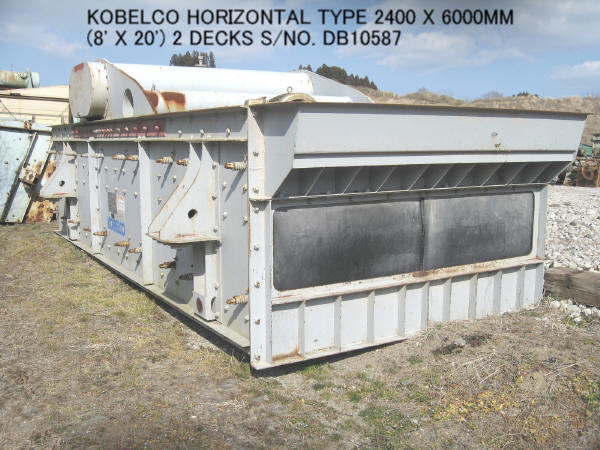 "USED ""KOBELCO"" HORIZONTAL TYPE 2400MM X 6000MM (8' X 20') 2 DECKS VIBRATING SCREEN S/NO. DB10587"