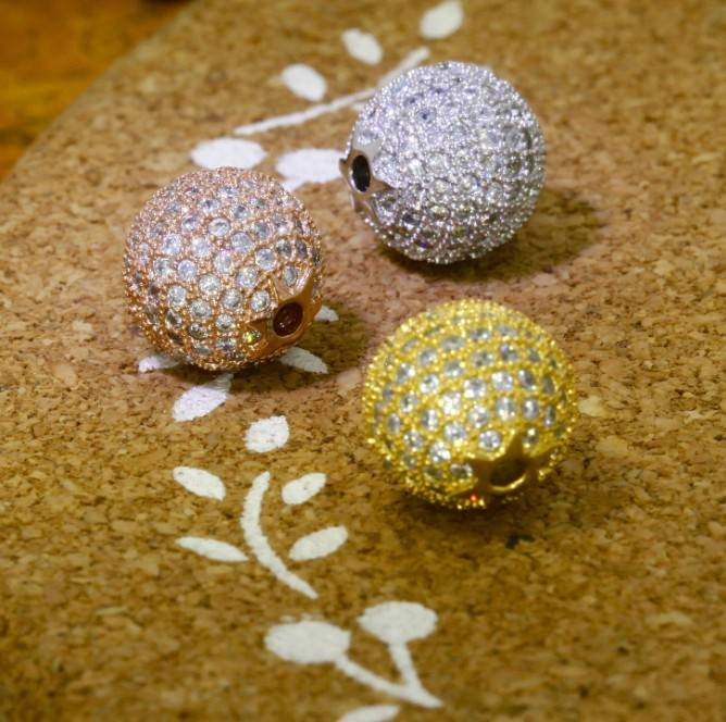 CZ Pave Beads Charm 10 mm