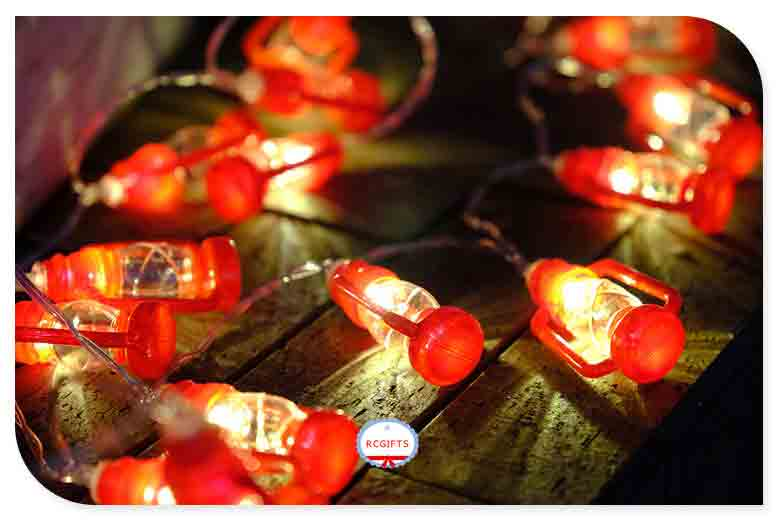 Red Plastic Lantern Battery Operated LED String Lights