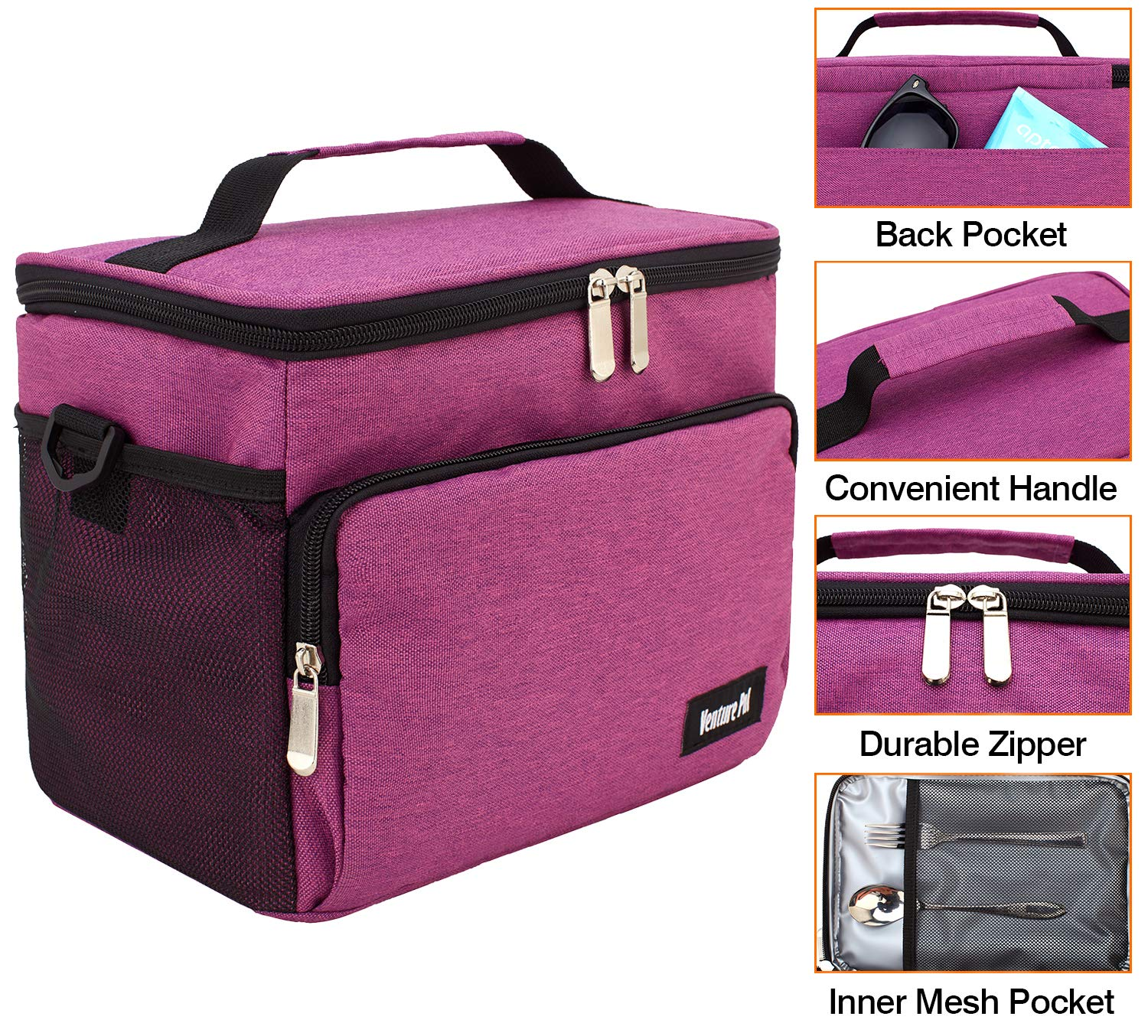 Reusable Insulated Cooler Lunch Bag - Office Work School Picnic Hiking Beach Lunch Box Organizer wit