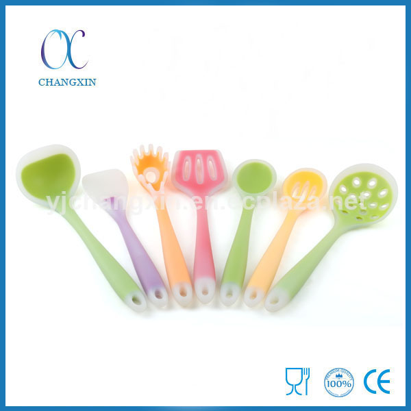 Novelty 7 Pieces Semi-transparent Silicone Kitchen Tool Set with Nylon Inside