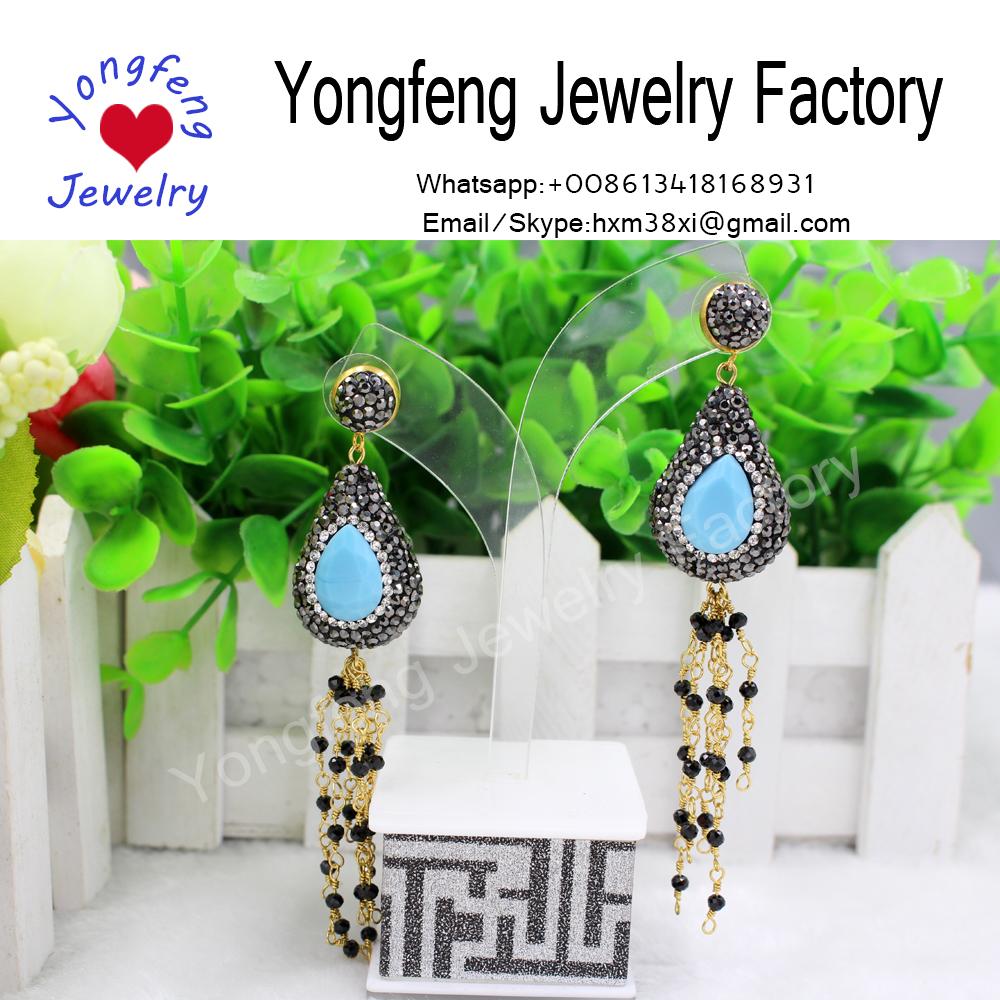 blue glass water-drop earrings,rhinestone teardrop dangle earrings,Black tourmaline beads tassel
