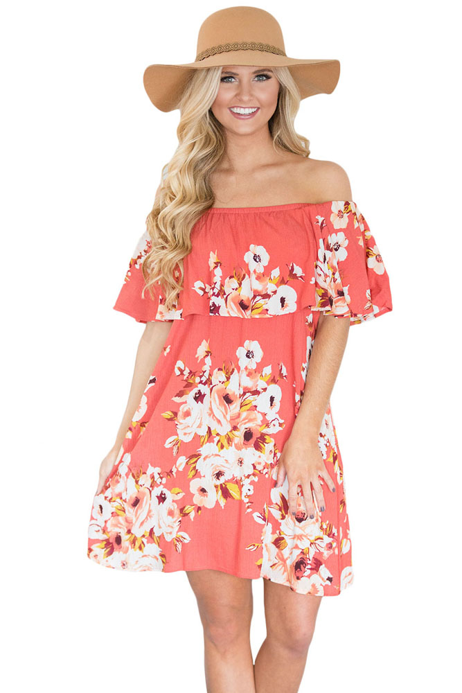 Joy-wear sexy Orange Ruffle Off Shoulder Floral Boho Dress