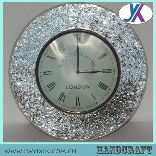 Hot sale custom polyresin decorative glass mosaic vintage clock