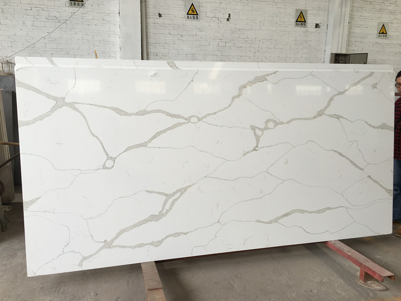 Calacatta white quartz slab quartz stone manufacturer in china SQ9001
