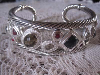 Sterling Silver Jewelry Black Cubic Zircon Cuff Bracelet (B-082)