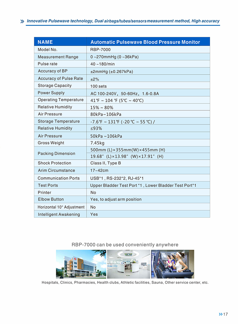 Factory sales CE ISO FSC approved certifications pulsewave blood pressure monitor for hospital use