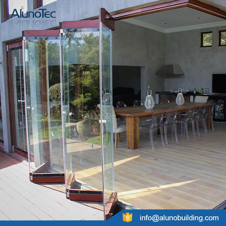 Aluminum interior glass bifolding doors tempered glass bifolding door earily open