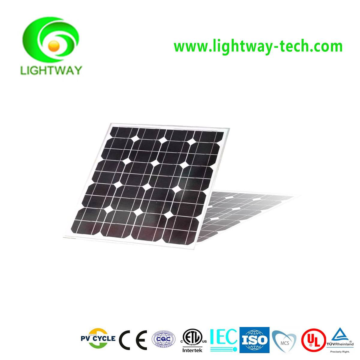 Cheap Price 75W Mono crystalline Solar Panel with 18.6V,Positive tolerance and CE/UL etc Certificate
